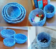 crochet fabric baskets