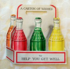 A Carton Of Wishes - Vintage 1950's Hallmark Get Well Card - Used - made in USA - reuse, recylce