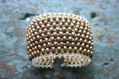 The Cleopatra Beaded Cuff Bracelet in Ebony by StudioAtPennyLane
