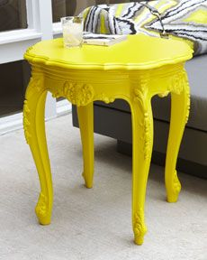 I see these old wood side tables at the thrift store all the time. Lacquer spray paint is REMARKABLE!!