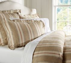 joshua stripe sham neutral | Linen!!! Joshua Stripe Duvet Cover & Sham - Neutral | Pottery Barn