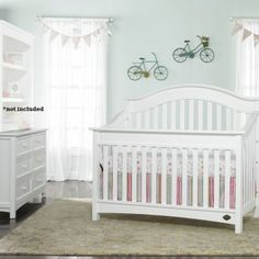 Bonavita Easton 2 Piece Nursery Set in Classic White - Crib and Double Dresser - Bonavita - Furniture Brands - Baby Furniture