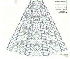 Baby Girl Coming Home/Baptism/Christening Outfit Crochet Crochet Skirt Pattern, Crochet Doll Dress, Crochet Barbie Clothes, Crochet Skirts, Crochet Diagram, Crochet Blouse, Crochet Chart, Filet Crochet, Crochet Motif