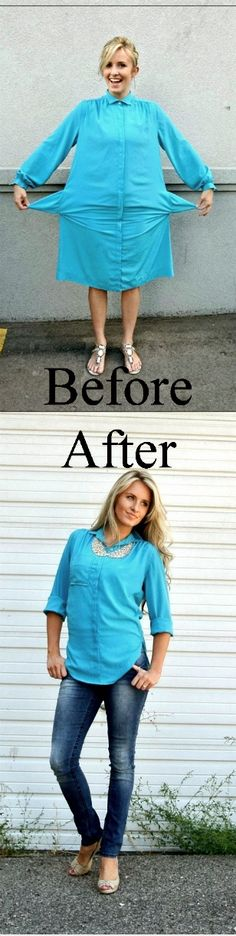 DIY #Refashion Dress to Blouse from @Kara Morehouse Morehouse Morehouse Morehouse Muehlmann #sewing