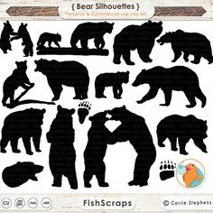 Bear Clip Art - Paw -  Bear Silhouettes - Photoshop Brushes - DIgital Stamps…