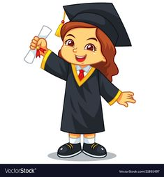 Girl graduation with toga and certificate Vector Image , Graduation Clip Art, Graduation Images, Graduation Ideas, Kids Vector, Dog Vector, Cartoon Kids, Cute Cartoon, Chinese New Year Background, Marcos Para Fiestas