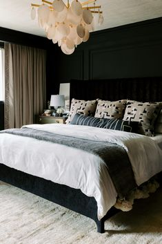 Bedroom Drapes, Home Bedroom, Bedroom Decor, Bedroom Ideas, Peaceful Bedroom, Bedroom Signs, Bedroom Inspiration, Curtains, Black Painted Walls