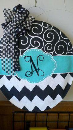Burlap Door Hanger Beautiful Swirl Mint by SayItWithSassRoxboro