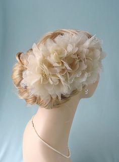 Ivory bridal hairpiece wedding headpiece bridal by JoyandFelicity, $110.00