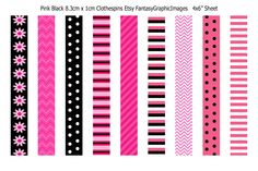 Free Printable Collage Sheets: Free Pink - Black ClothesPins/Ribbons Collage Sheet from Etsy Shop Fantasygraphicimages