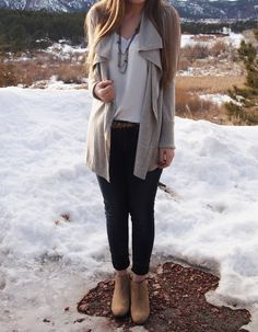 Casual fall/winter outfit. White Express Barcelona cami, oatmeal beige open waterfall cardigan, black jeans, leopard belt, taupe Sam Edelman Petty booties ankle boots in Honey. Exploring My Style blog.