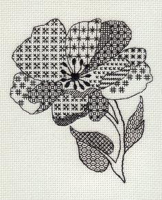 pretty flower in blackwork stitches Blackwork Cross Stitch, Blackwork Embroidery, Embroidery Art, Cross Stitching, Cross Stitch Embroidery, Embroidery Patterns, Cross Stitch Designs, Cross Stitch Patterns, Blackwork Patterns