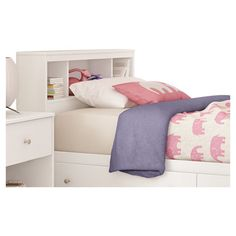 Found it at Wayfair - Litchi Twin Bookcase Headboard in Pure White