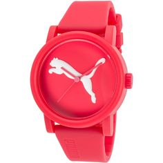 Puma Women's Big Cat Coral Silicone And Dial ($26) ❤ liked on Polyvore featuring jewelry, watches, coral, logo watches, white watches, cat jewelry, sport logo watches and cat watches