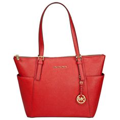 Michael Kors Jet Set Saffiano Top Zip Tote in Red in Clothing, Shoes & Accessories | eBay