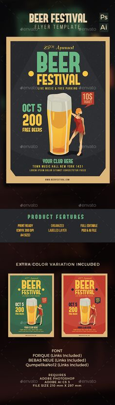 Beer Festival Flyer Template PSD #design Download: http://graphicriver.net/item/beer-festival-flyer/12947981?ref=ksioks