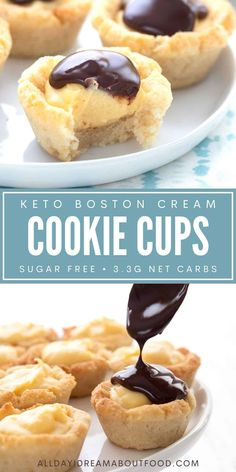 Little bitty Boston Cream Pie Bites are a tasty keto treat. Easy and fun to make, these little low carb cookie cups are sugar free and grain free. Sugar Free Cookies, Sugar Free Desserts, Keto Cookies, Sugar Free Recipes, Low Carb Deserts, Low Carb Sweets, Healthy Sweets, Ketogenic Desserts, Keto Snacks