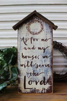 Scripture Wood Sign Bible Wood Sign As For Me and My House Joshua Bible Verse Sign Inspirational Wood Sign Rustic Primitive Sign by TinSheepShop on Etsy Pallet Projects Signs, Pallet Crafts, Diy Wood Projects, Wood Crafts, Woodworking Projects, Youtube Woodworking, Pallet Signs, Teds Woodworking, Vinyl Projects