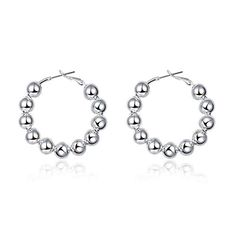 fonk 8MM Bead hoop Earings silver plated earrings for women silver plated earrings SMTE188 >>> You can find out more details at the link of the image. Note:It is Affiliate Link to Amazon.