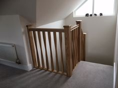 Oak staircase with twisted spindles Types Of Stairs, Staircase Storage, Glass Balustrade, Joinery, Cribs, Hardwood, House Ideas, Bed, Furniture