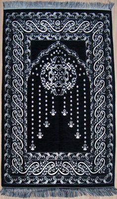BLACK islamic Prayer Rug - Prayer CARPET - Mat Namaz Salat Musallah Ottoman