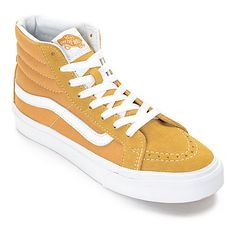 Vans Sk8-Hi Amber Gold Womens Skate Shoes ($65) via Polyvore featuring shoes, sneakers, grip trainer, slim shoes, gold sneakers, gold shoes and skate shoes