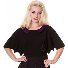 Image result for Banned Apparel Goth Black Purple Bats Top Shirt Small