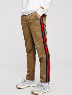Men Button Front Striped Trim Pants a2bcb512dc25d