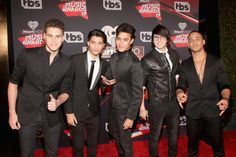 Singers Zabdiel de Jesus, Erick Brian Colon, Joel Pimentel, Christopher Velez and Richard Camacho of the group CNCO attend the 2017 iHeartRadio Music Awards which broadcast live on Turner's TBS, TNT, and truTV at The Forum on March 5, 2017 in Inglewood, California. (Photo by Jesse Grant/Getty Images for iHeartMedia)
