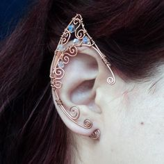 Elf ear cuff copper Elven ears wire wrapped earcuff in copper and clear crystals cosplay fantasy Fairy LOTR cosplay props