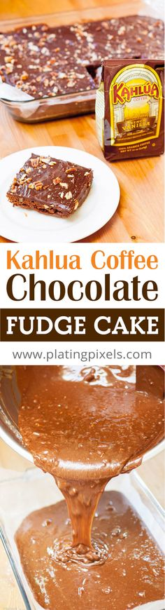 Kahlua Coffee Chocolate Fudge Cake by Plating Pixels. Dense coffee chocolate cake with Kahlua liquor and rich, creamy chocolate frosting. Easy to make chocolate cake. - www.platingpixels.com