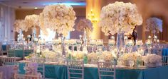 Elegant and Glamorous Tiffany blue and white wedding reception
