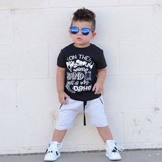 Trendy baby boy clothes Fresh Prince band style graphic tee for kid's. Monochrome black and white stylish clothes Baby Boy Clothes Hipster, Trendy Baby Clothes, Baby Boy Outfits, Trendy Outfits, Kids Outfits, Stylish Clothes, Little Boy Fashion, Baby Boy Fashion, Toddler Fashion