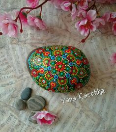 "Original hand painted mandala stone ""Bird of paradise"",painted stone,stone art…"