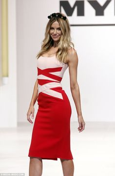 Racy in red: Jennifer wore a red and off-white bodycon dress by Yeojin Bae and a…