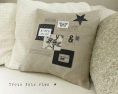 Housse de coussin lin et étiquettes N°5 Cushions To Make, Diy Pillows, Decorative Pillows, Throw Pillows, Burlap Crafts, Diy And Crafts, Textiles, Pillow Inspiration, Creation Couture
