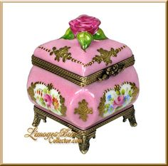 Pink Perfume Chest with Roses Limoges Box by Beauchamp Limoges www.LimogesBoxCollector.com