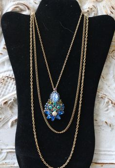 Large RHINESTONE PENDANT/BROOCH, 3 strand Gold tone chains, Gorgeous, Blues,Violet, Green, Vintage, Amazing !! by FrancieLouiseJelly on Etsy