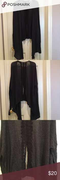 Draped split back cardigan sweater Draped split back cardigan sweater. Size XS/S. Gorgeous dark charcoal grey.  Black Embroidered back split panel. Front is longer than the back. Tight long sleeves. Modal/poly/cotton. Might be a few tiny snags from the loose weave. Smoke free home. Abercrombie & Fitch Sweaters Cardigans