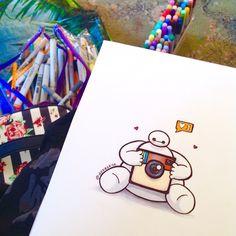 Cool Heart Drawings Step By Step Bmax Disney, Disney Fan Art, Disney Dream, Disney Artwork, Disney Drawings, Cartoon Drawings, Cool Heart Drawings, Cute Drawings, Big Hero 6