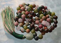 Heart Chakra Mala Rose Quartz Bronzite Serpentine Moss Agate Rhodonite – AwakenYourKundalini