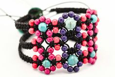 Beaded Macrame Bracelet Flat and wide Turquoise Howlit macrame jewelry Pink and purple waxed cotton cord bracelet Radiant orchid Autumn