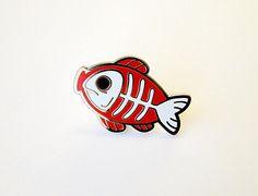 fishbone enamel pin