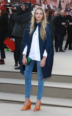 Minus the rip. (LOVE the rings, too!) Gabriella Wilde attends the Burberry Prorsum show during London Fashion Week.  Source: gettyimages.com