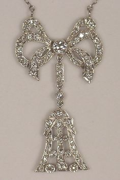 Platinum and Diamond Bow Necklace