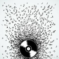music notes splash record vinyl by Cienpies Design