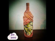 decoupage bottle shabby chic with tights DIY ideas decorations craft tutorial / URADI SAM - YouTube