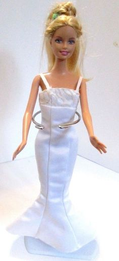Barbie doll long blonde hair Long white mermaid dress Pink high heels rare #Barbie