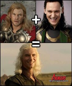 Game of Thrones funny memes. When I first saw the Avengers, I had to look up the actor to see if Loki and Viserys were played by the same person! Game Of Thrones Meme, Jon Snow, Khal Drogo, Got Memes, Funny Memes, Hilarious, Game Of Throne Lustig, Cultura Nerd, Game Of Thones