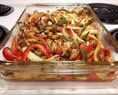 Baked Chicken Fajitas - I used: 3 chicken breasts, 2 while cooled peppers, 1 sweet onion, mrs. Dash fiesta lime seasoning. Double the spice mixture next time. Good though!